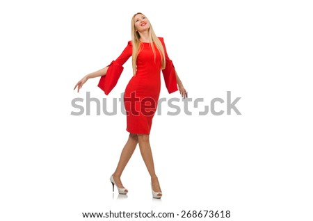 Pretty woman in red dress isolated on white - stock photo