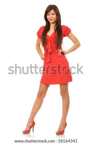 pretty woman in red dress on a white background - stock photo