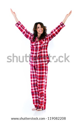 Pretty Woman in red flannel pajamas - stock photo