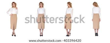 Pretty woman in skirt isolated set