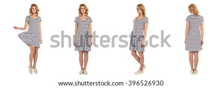 Pretty Woman in striped dress
