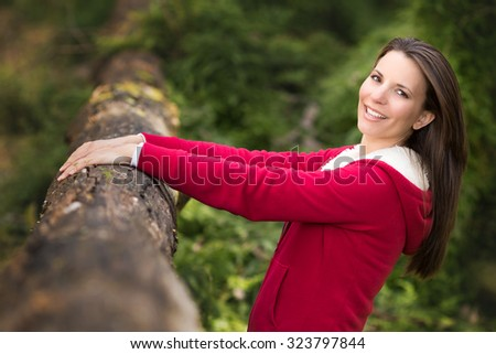 Pretty woman in the bush - stock photo