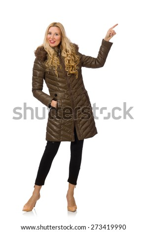 Pretty woman in winter clothing isolated on white