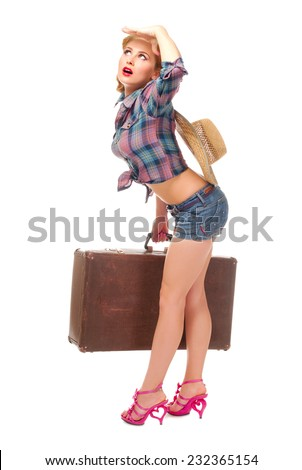 Pretty woman isolated on white - stock photo