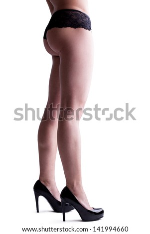 Pretty woman legs isolated on white - stock photo