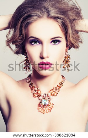 Pretty Woman. Makeup and Jewelry - stock photo