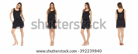 Pretty Woman n dress front, back, side view, isolated - stock photo