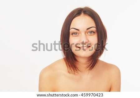Pretty woman on a white background