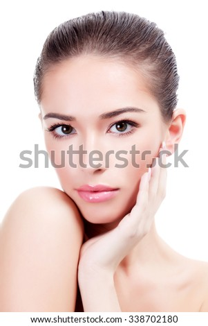 Pretty woman on a white background, isolated - stock photo