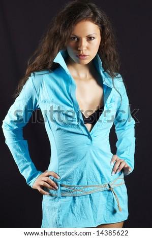 pretty woman, on black background - stock photo