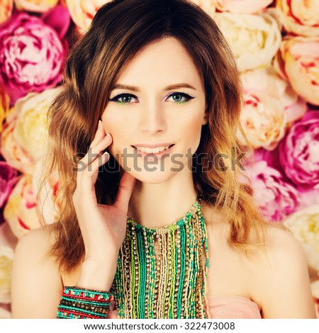 Pretty Woman on Blossom Floral Background - stock photo