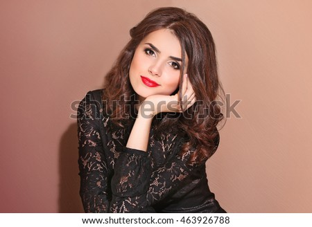 Pretty woman on colour background