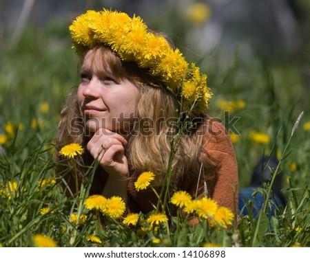 pretty woman on lawn - stock photo
