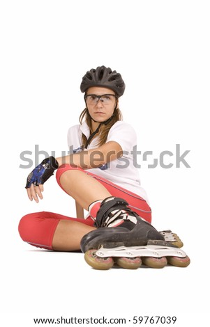 pretty woman on roller skates, isolated in white - stock photo