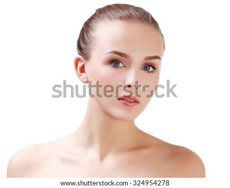 Pretty woman on white background - stock photo