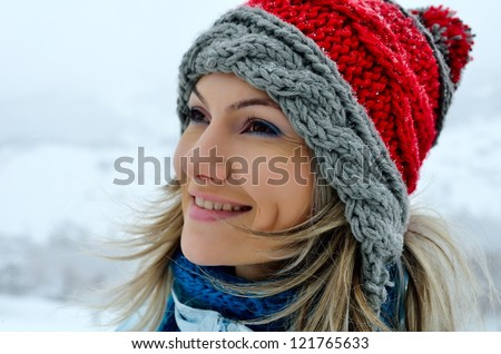 pretty woman outdoor in winter
