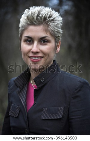 pretty woman outdoor with various facial expressions - stock photo