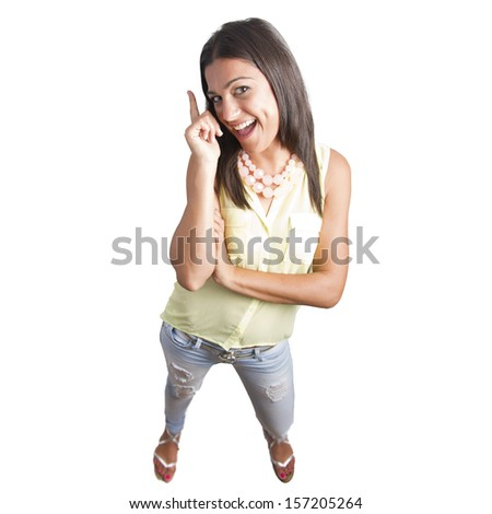 pretty woman pointing up - stock photo