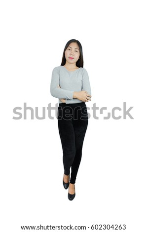 Pretty woman portrait . Crossed arms .