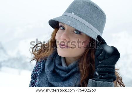 pretty woman portrait outdoor - stock photo