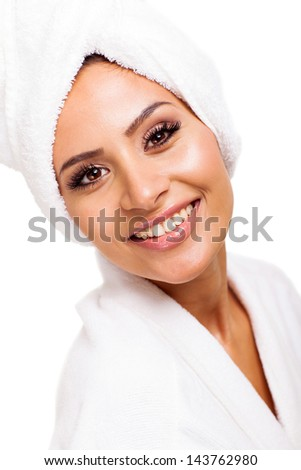 pretty woman posing after spa treatment isolated white background