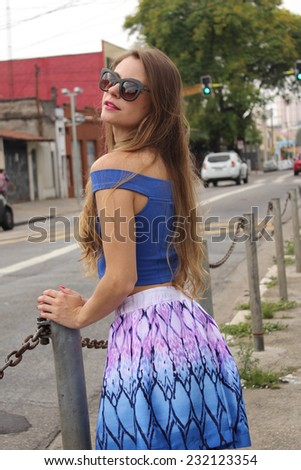 Pretty woman posing in the Brazil streets
