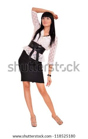 pretty woman posing on a white background - stock photo