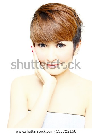 Pretty woman short hair smiling on white background.