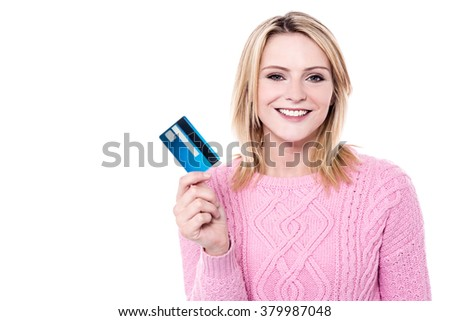 Pretty woman showing the cash card over white