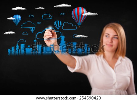 Pretty woman sketching cityscape with colorful balloons and clouds