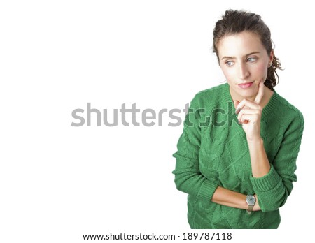 pretty woman thinking - stock photo
