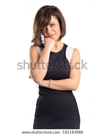 Pretty woman thinking an idea over isolated white background  - stock photo