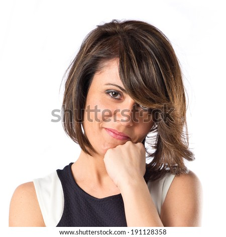 Pretty woman thinking over isolated white background  - stock photo