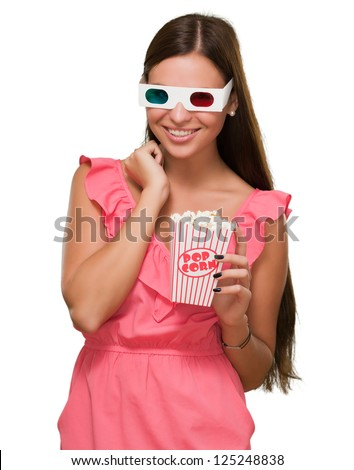 Pretty Woman Watching 3d Movie Isolated On White Background - stock photo