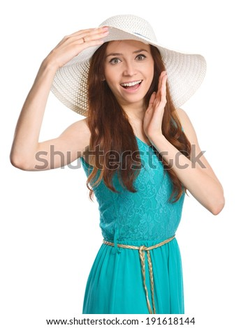 Pretty woman wearing summer hat, isolated over white