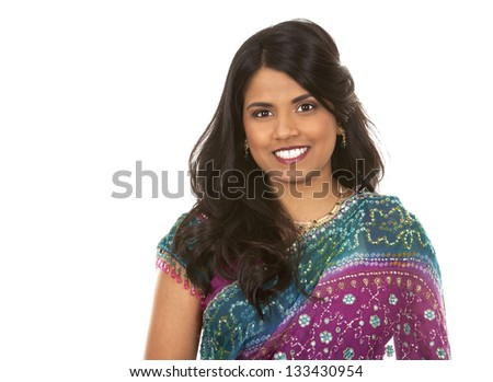 pretty woman wering indian outfit on white background
