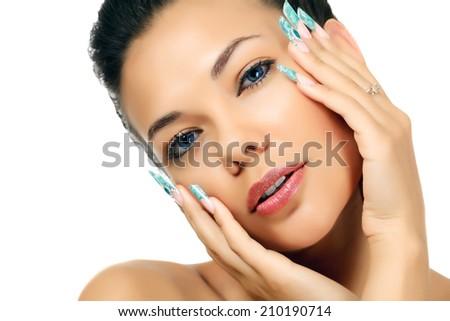 Pretty woman, white background, copyspace - stock photo