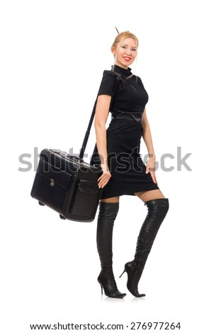 Pretty woman with bags isolated on white - stock photo