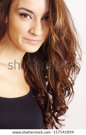 Pretty woman with black shirt on white background