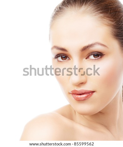 Pretty woman with brown hair and beauty lips looking to camera, isolated on white background - stock photo
