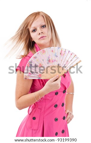 Pretty woman with Chinese fan, isolated on white