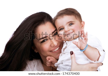 Pretty woman with cute little daughter, closeup of young family isolated on white background, healthy lifestyle, happy parenthood concept - stock photo
