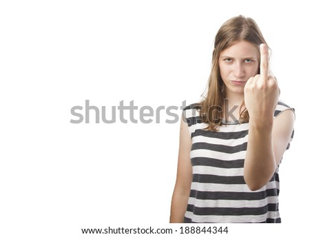 pretty woman with disagreement gesture - stock photo