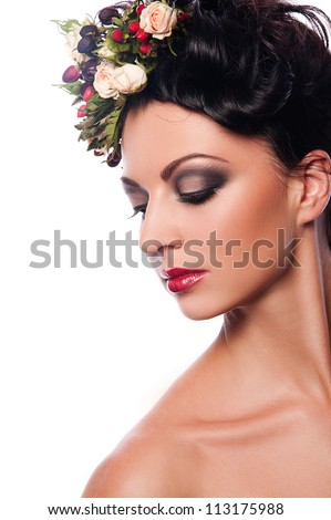 pretty woman with flower in hair