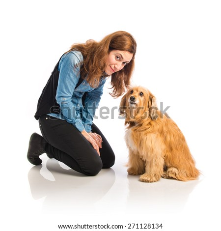 Pretty woman with her dog