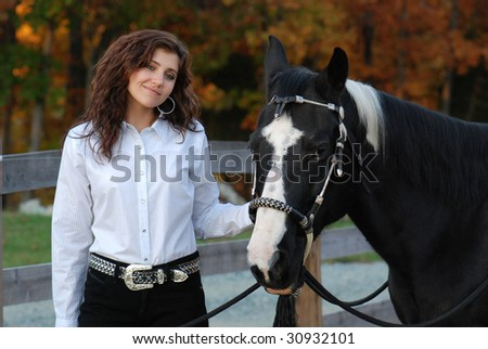 Pretty Woman with Horse - stock photo