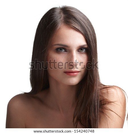 Pretty woman with long straight brown hair on white background