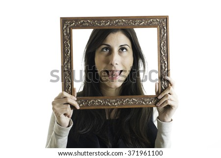Pretty woman with picture frames