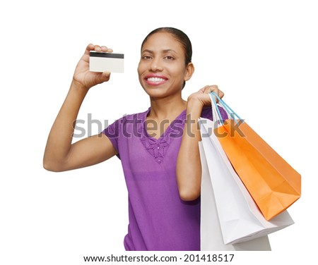 pretty woman with shopping bags and credit card