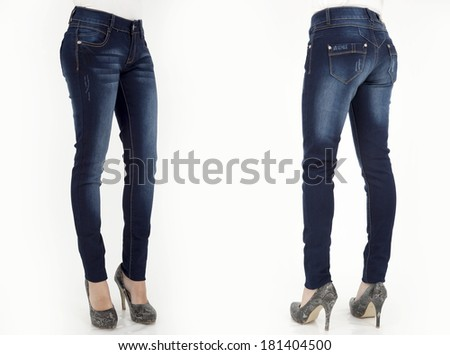 pretty women in jeans on white background back and front views - stock photo